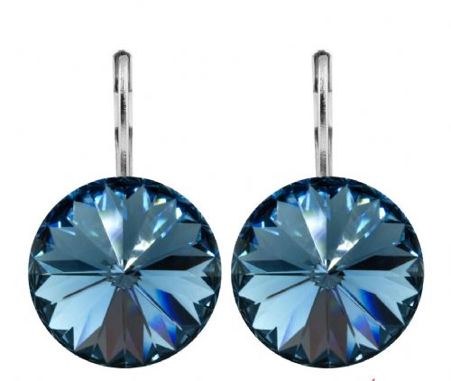 Pierced Earrings with Original Swarovski Crystals Denim Blue